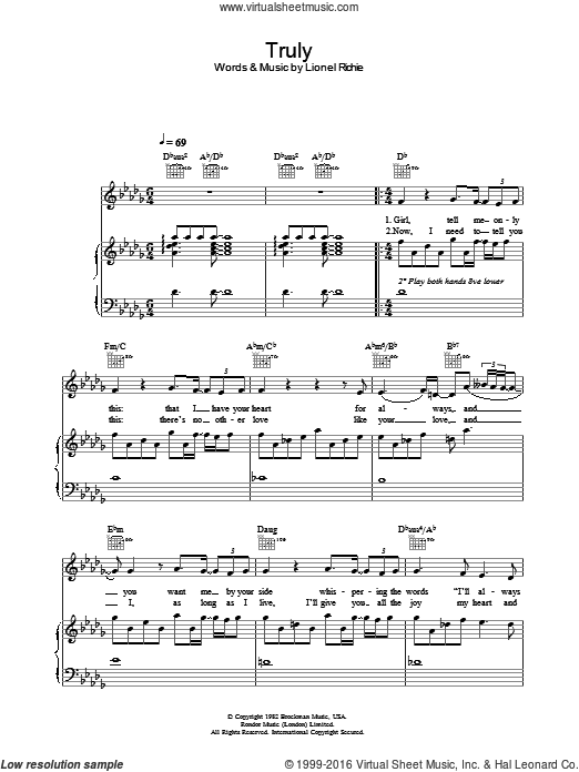 Truly sheet music for voice, piano or guitar by Lionel Richie, wedding score, intermediate. Score Image Preview.