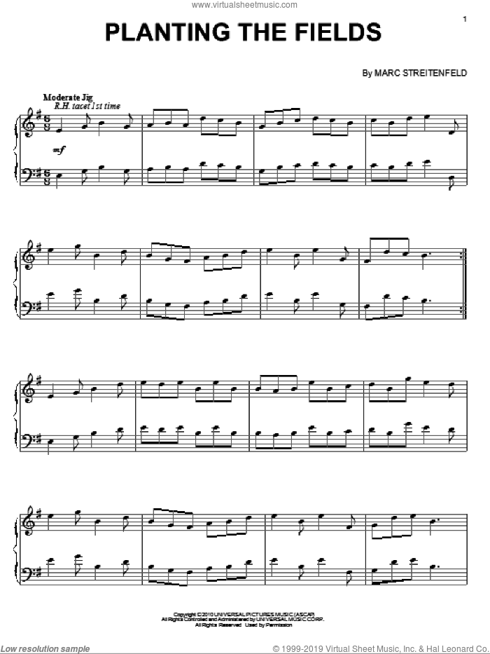 Planting The Fields sheet music for piano solo by Marc Streitenfeld, intermediate. Score Image Preview.