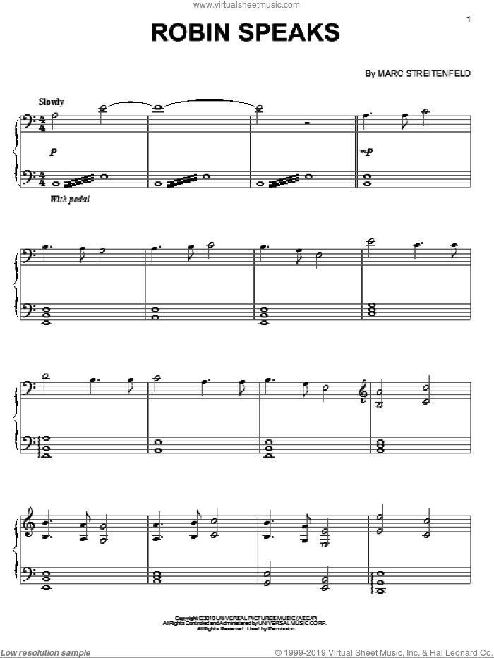 Robin Speaks sheet music for piano solo by Marc Streitenfeld. Score Image Preview.