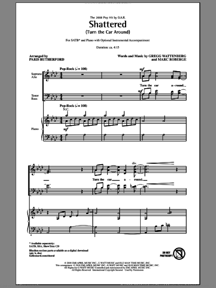 Shattered (Turn The Car Around) sheet music for choir and piano (SATB) by Gregg Wattenberg