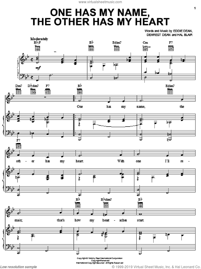 One Has My Name, The Other Has My Heart sheet music for voice, piano or guitar by Jerry Lee Lewis, Dearest Dean, Eddie Dean and Hal Blair, intermediate skill level