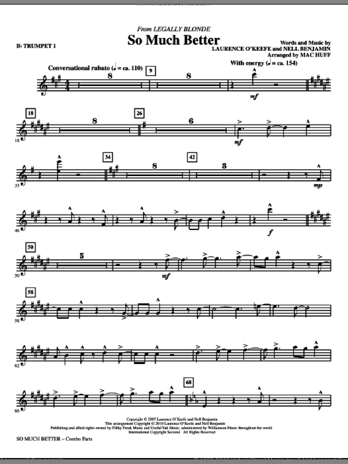 So Much Better (from Legally Blonde) (complete set of parts) sheet music for orchestra/band by Laurence O'Keefe, Nell Benjamin and Mac Huff, intermediate skill level