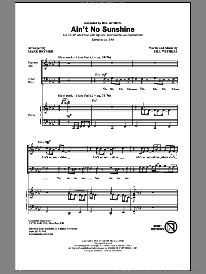 Ain't No Sunshine sheet music for choir (SATB: soprano, alto, tenor, bass) by Bill Withers and Mark Brymer, intermediate. Score Image Preview.