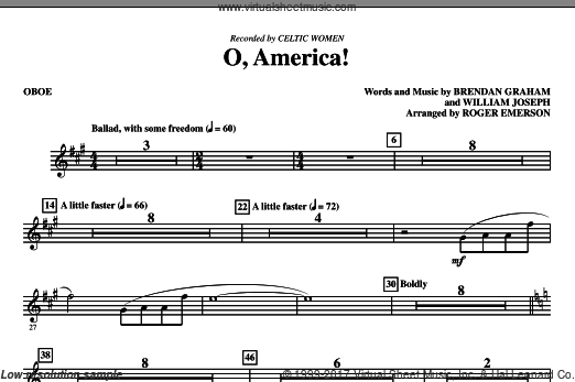 O, America (COMPLETE) sheet music for orchestra by Brendan Graham