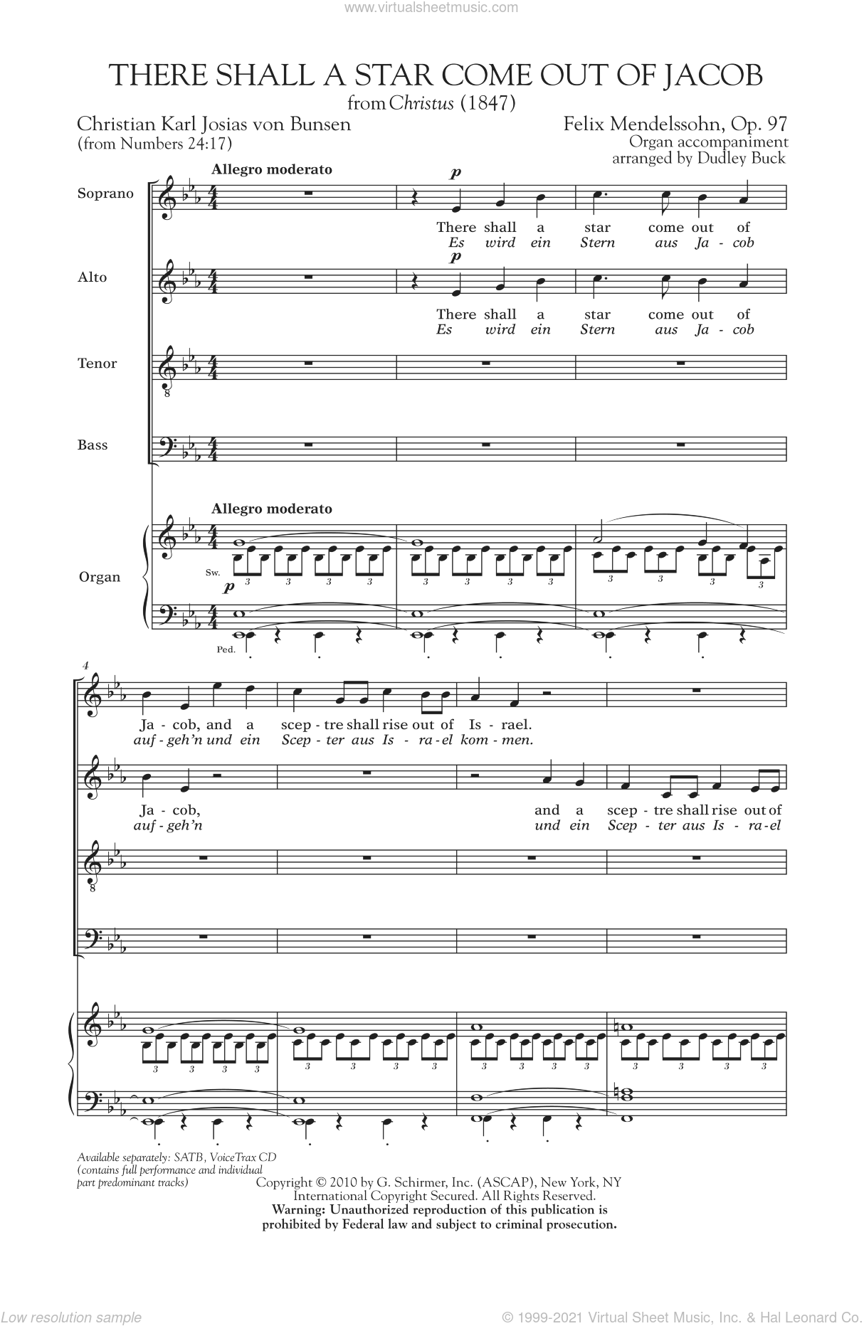 There Shall A Star Come Out Of Jacob sheet music for choir (SATB) by Felix Mendelssohn-Bartholdy. Score Image Preview.