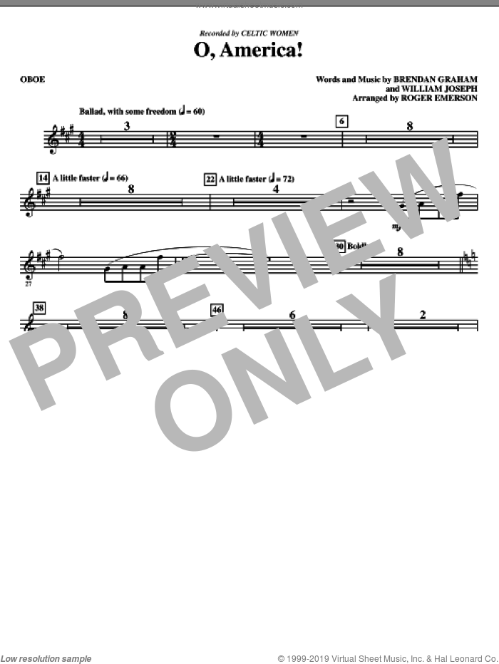 O, America (complete set of parts) sheet music for orchestra/band (Special) by Brendan Graham, William Joseph, Celtic Woman and Roger Emerson, intermediate skill level