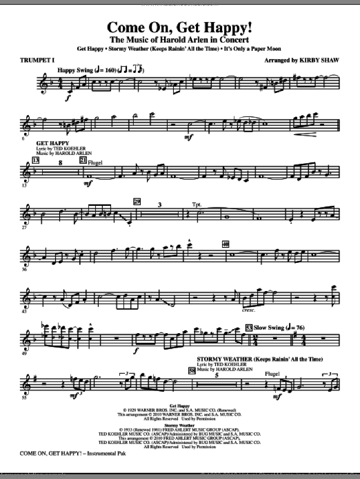 Come On, Get Happy! The Music Of Harold Arlen In Concert (Medley) (complete set of parts) sheet music for orchestra/band by Harold Arlen, Billy Rose, E.Y. Harburg, Kirby Shaw and Ted Koehler, intermediate skill level