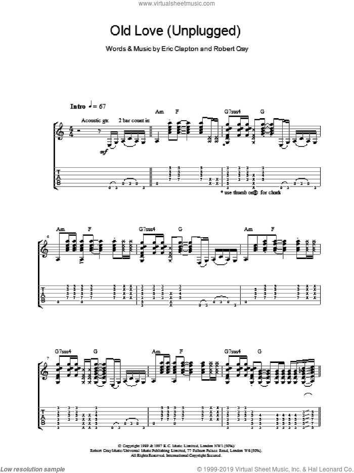 Old Love (Unplugged) sheet music for guitar (tablature) by Eric Clapton and Robert Cray, intermediate. Score Image Preview.