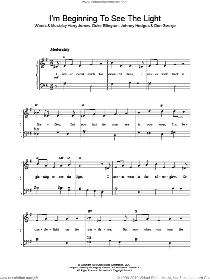 I'm Beginning To See The Light sheet music for piano solo by Duke Ellington and Harry James, intermediate. Score Image Preview.
