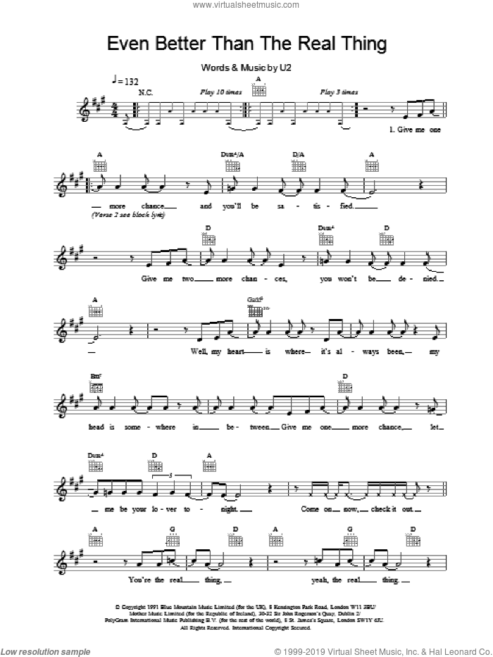 Even Better Than The Real Thing sheet music for voice and other instruments (fake book) by U2, intermediate skill level