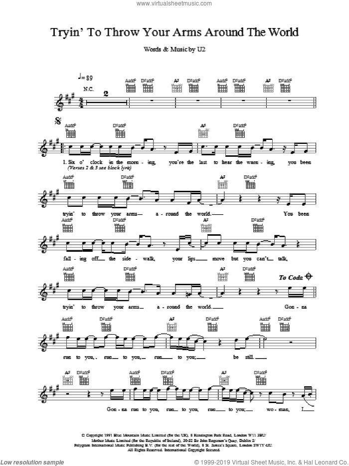 Tryin' To Throw Your Arms Around The World sheet music for voice and other instruments (fake book) by U2. Score Image Preview.