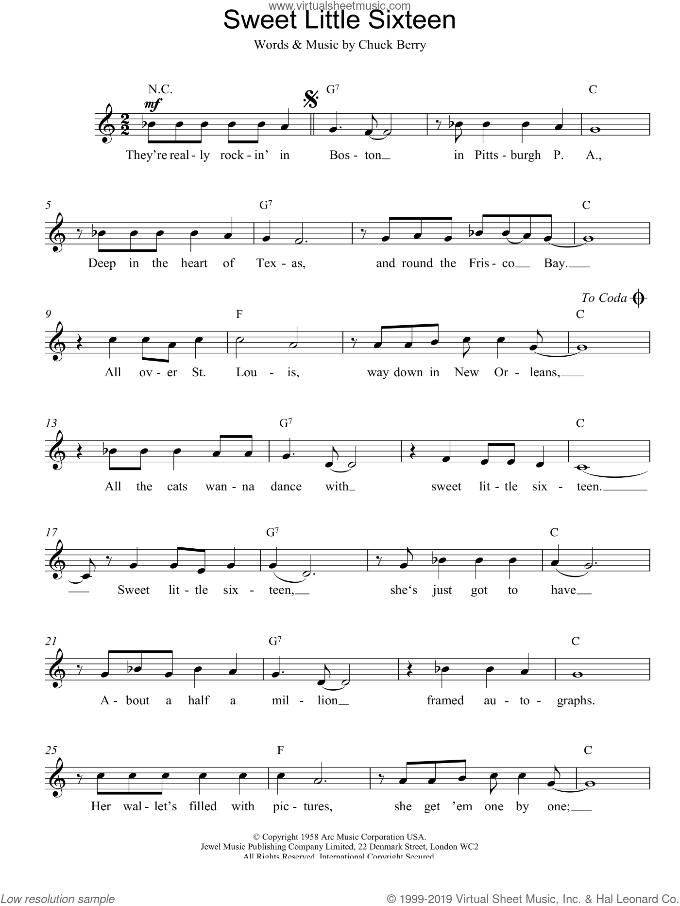 Sweet Little Sixteen sheet music for voice and other instruments (fake book) by Chuck Berry. Score Image Preview.