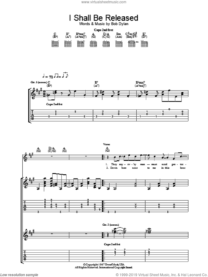 I Shall Be Released sheet music for guitar (tablature) by Bob Dylan, intermediate skill level