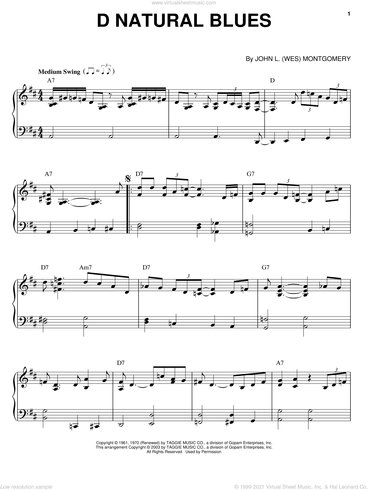 D Natural Blues sheet music for piano solo by Wes Montgomery, intermediate skill level