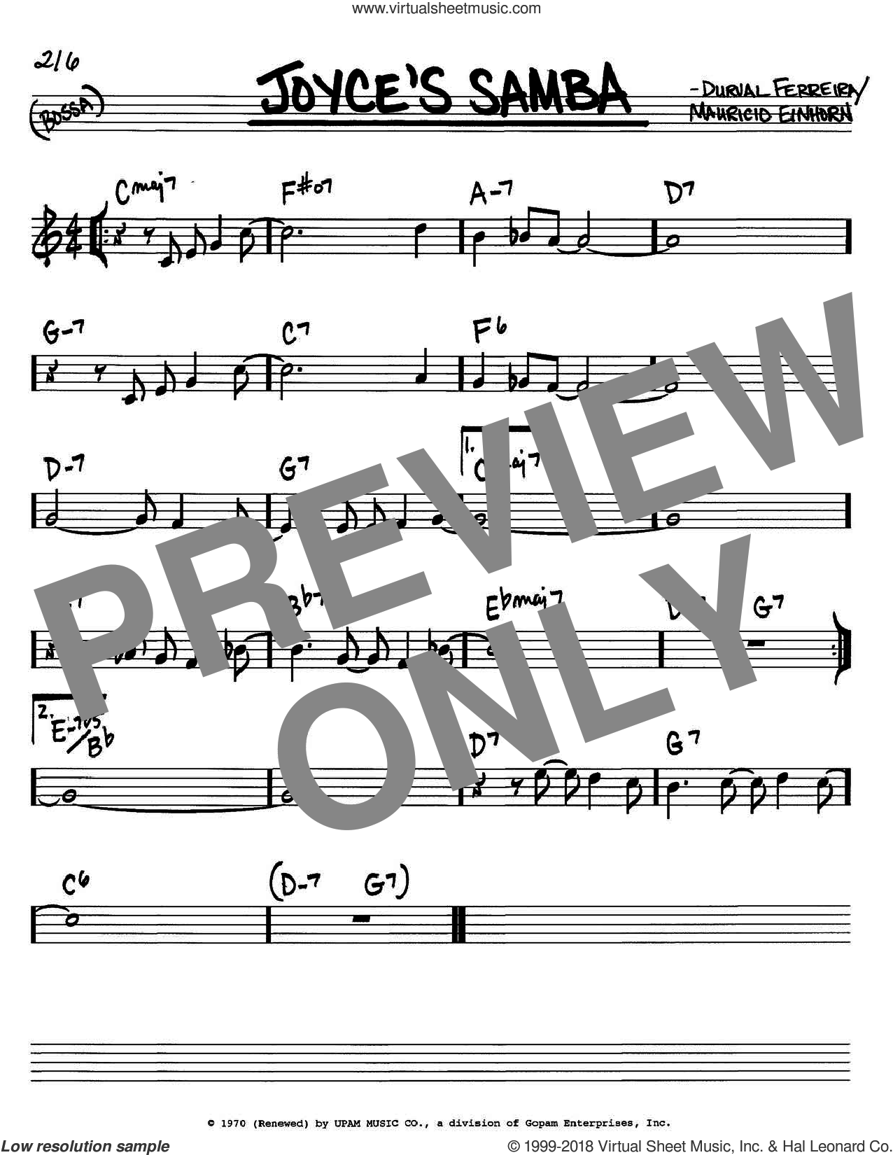 Joyce's Samba sheet music for voice and other instruments (in C) by Cannonball Adderley, Durval Ferreira and Mauricio Einhorn, intermediate
