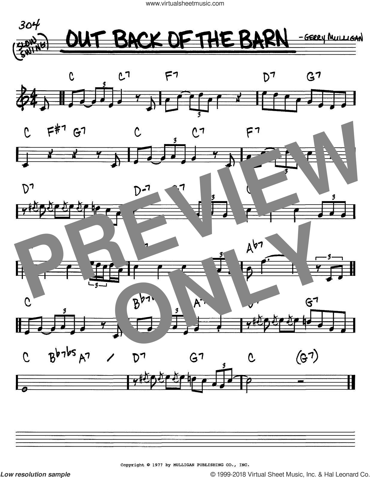Out Back Of The Barn sheet music for voice and other instruments (C) by Gerry Mulligan. Score Image Preview.