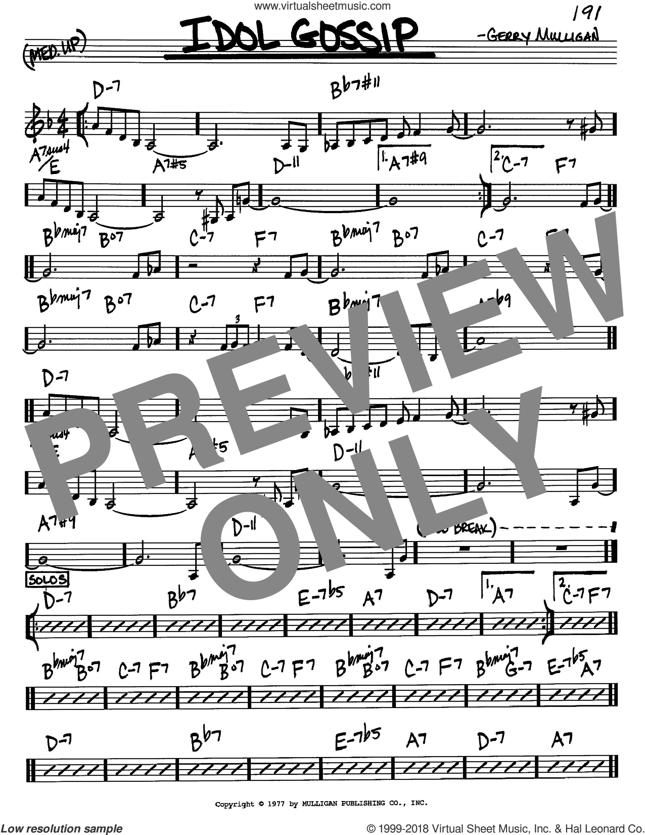 Idol Gossip sheet music for voice and other instruments (C) by Gerry Mulligan. Score Image Preview.