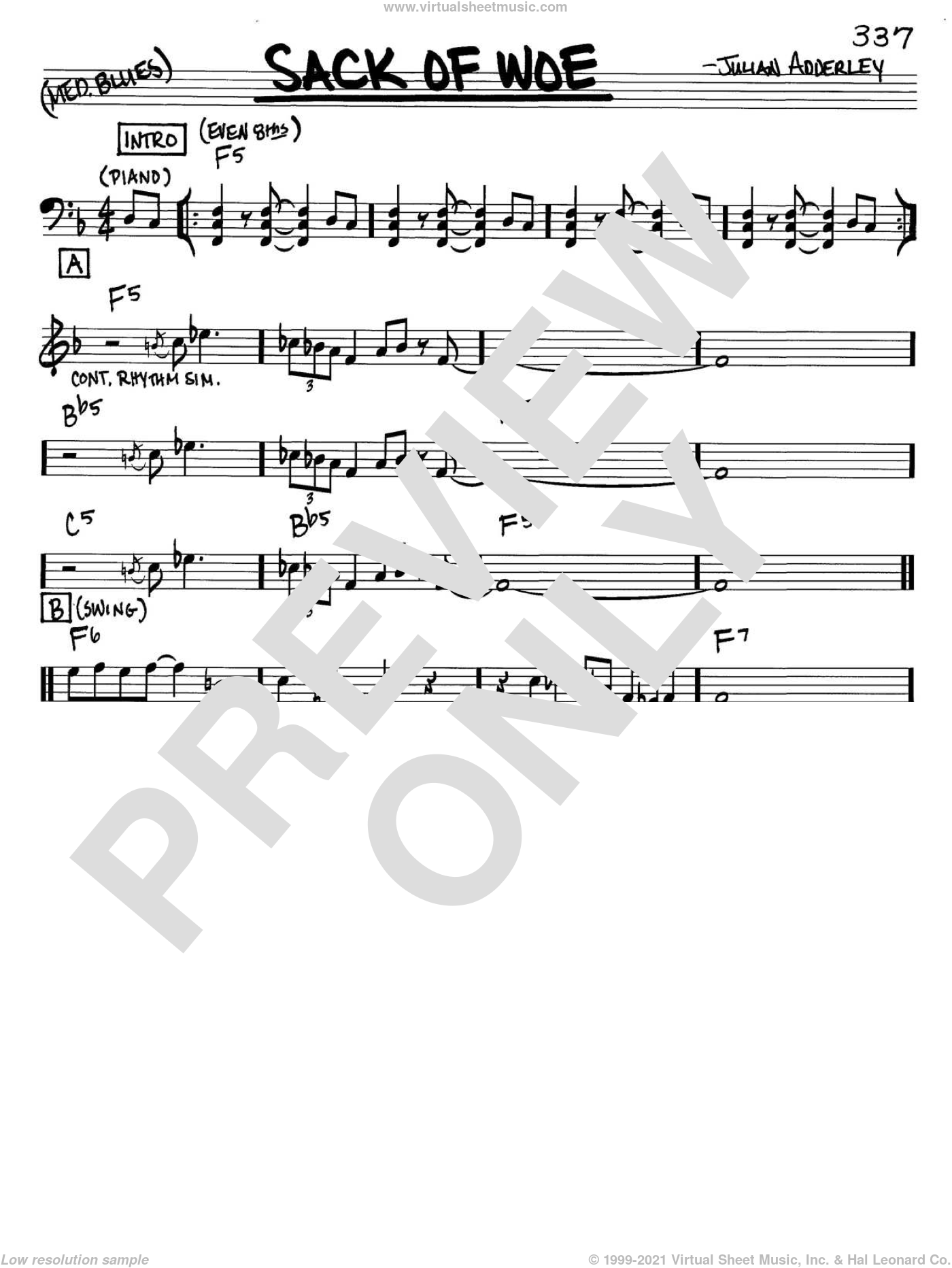 Sack Of Woe sheet music for voice and other instruments (C) by Cannonball Adderley and Julian Adderley. Score Image Preview.