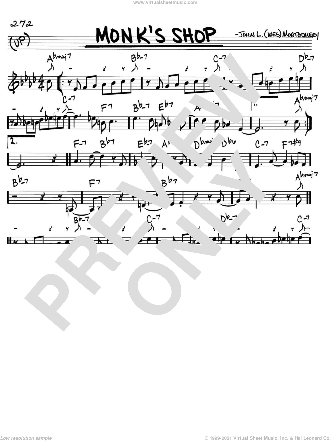 Monk's Shop sheet music for voice and other instruments (in C) by Wes Montgomery, intermediate. Score Image Preview.
