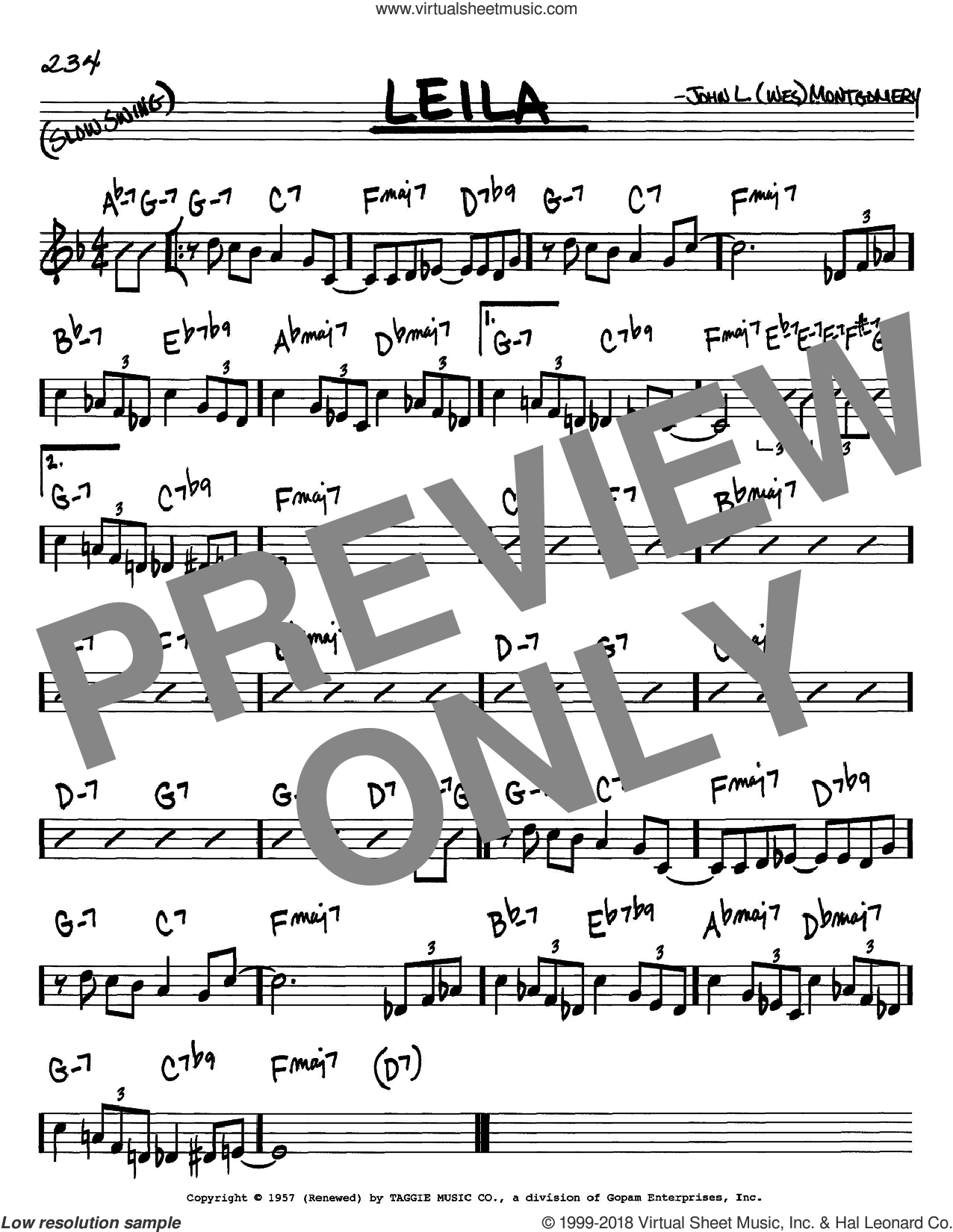 Leila sheet music for voice and other instruments (C) by Wes Montgomery