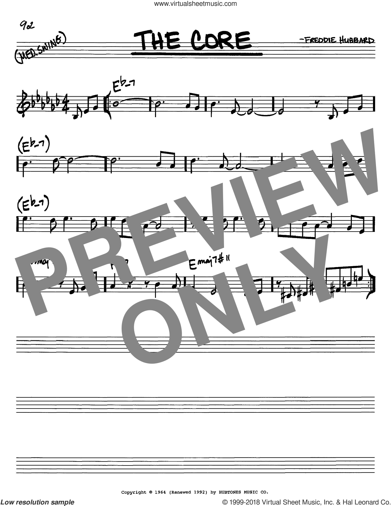 The Core sheet music for voice and other instruments (in C) by Freddie Hubbard, intermediate. Score Image Preview.