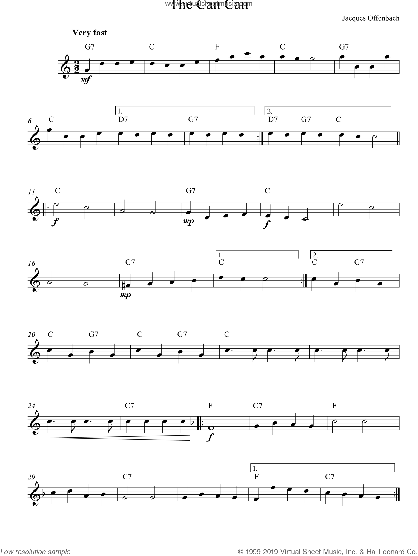 Can Can sheet music for voice and other instruments (fake book) by Jacques Offenbach, classical score, intermediate voice. Score Image Preview.