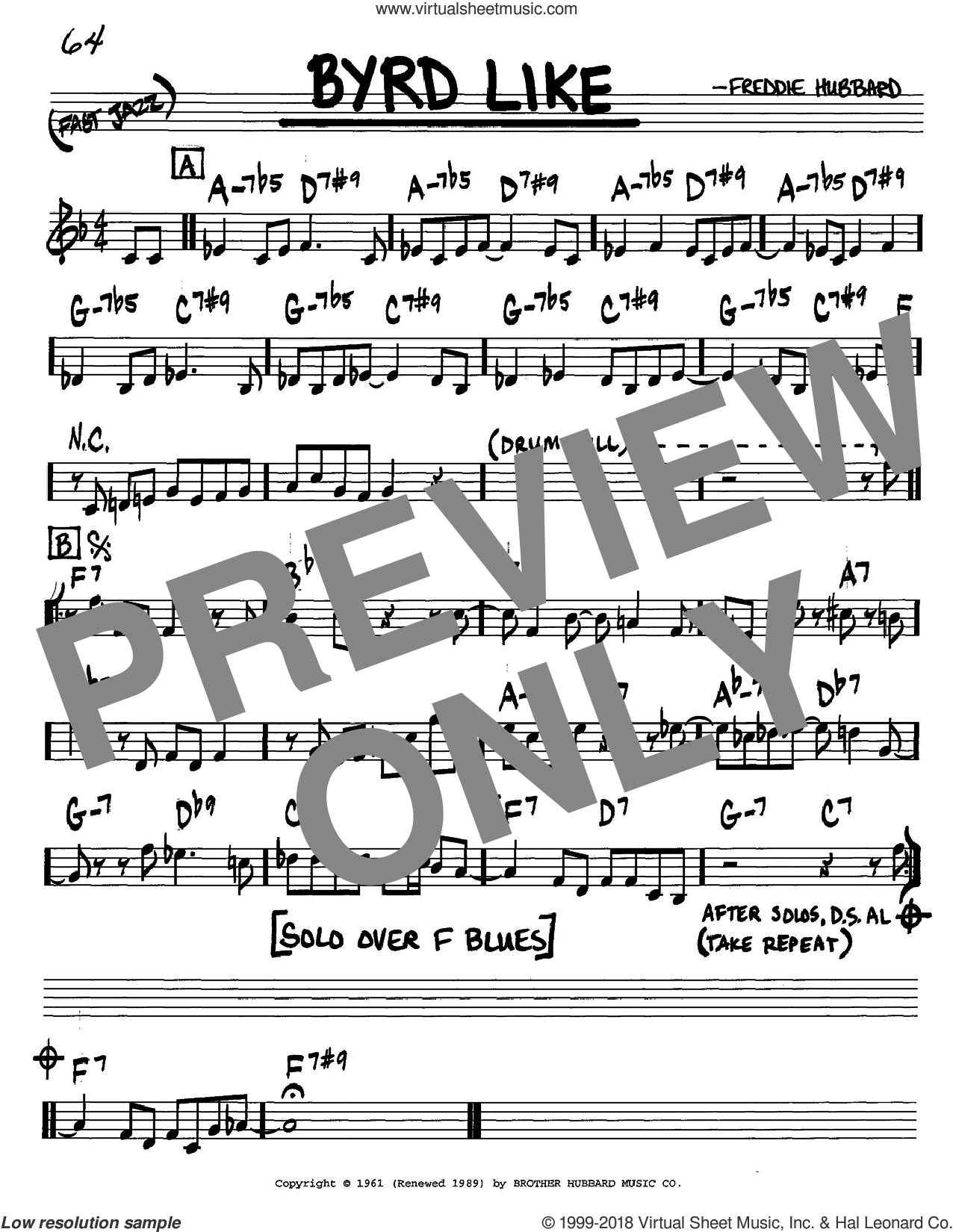 Byrd Like sheet music for voice and other instruments (in C) by Freddie Hubbard, intermediate