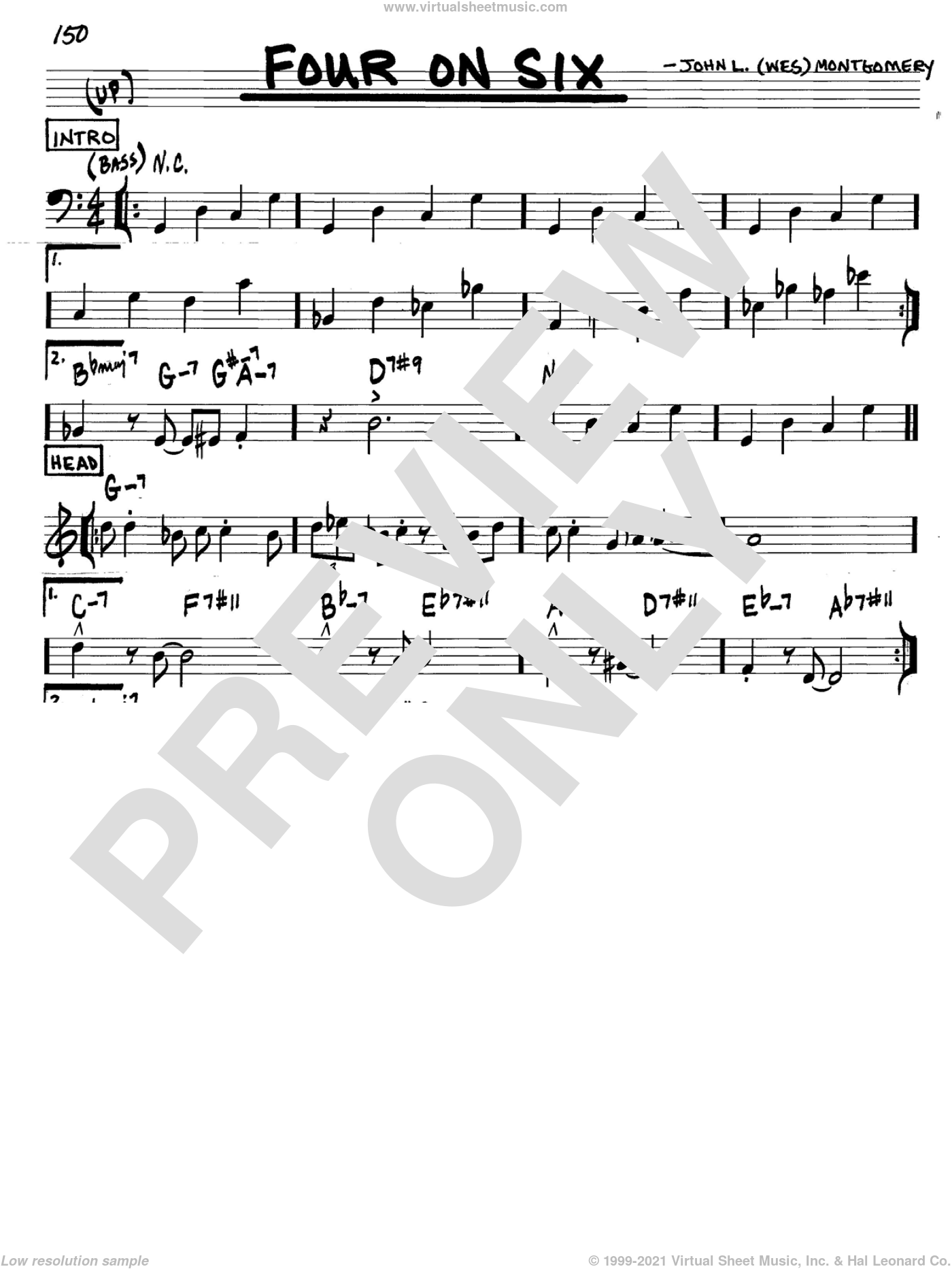 Four On Six sheet music for voice and other instruments (in C) by Wes Montgomery, intermediate skill level