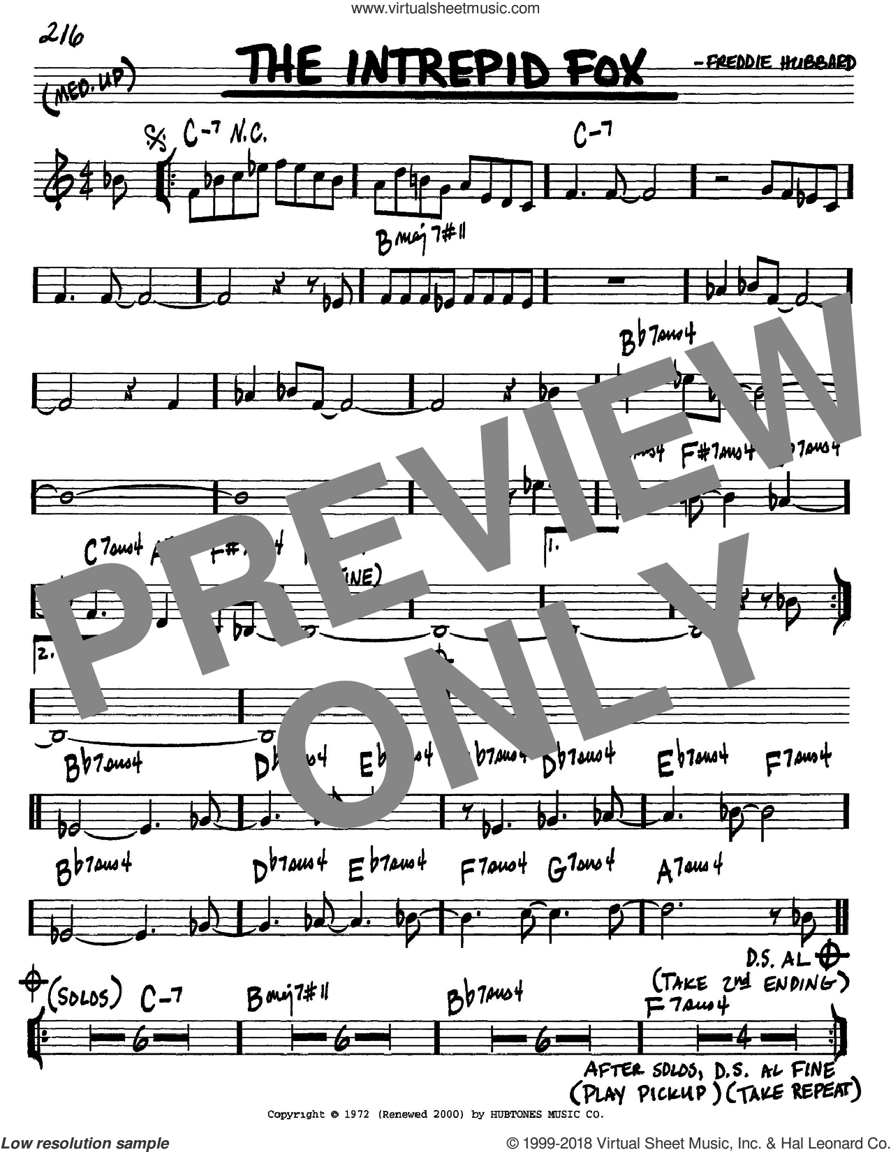 The Intrepid Fox sheet music for voice and other instruments (in C) by Freddie Hubbard, intermediate skill level
