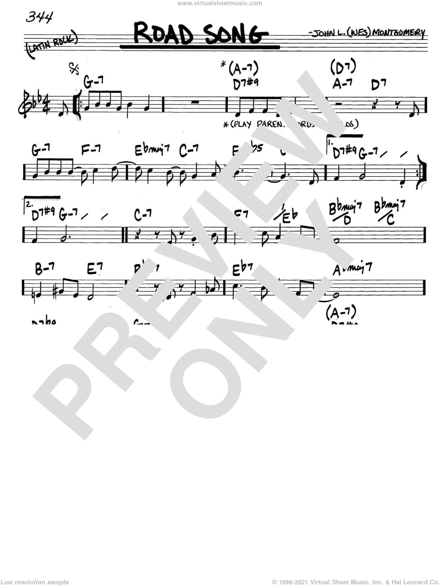 Road Song sheet music for voice and other instruments (in C) by Wes Montgomery, intermediate. Score Image Preview.