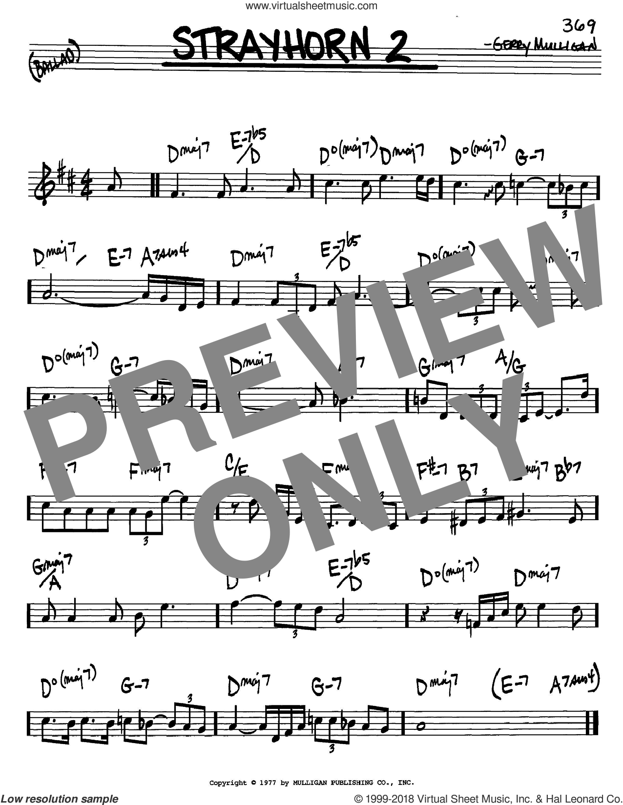 Strayhorn 2 sheet music for voice and other instruments (C) by Gerry Mulligan. Score Image Preview.