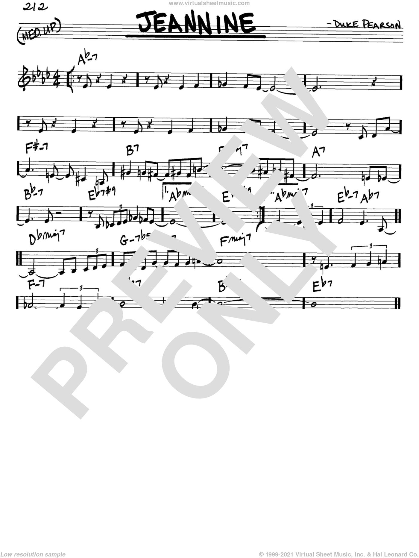 Jeannine sheet music for voice and other instruments (in C) by Cannonball Adderley and Duke Pearson, intermediate skill level