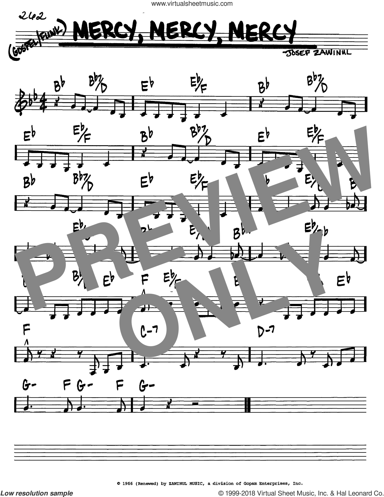 Zawinul Mercy Mercy Mercy Sheet Music Real Book Melody And