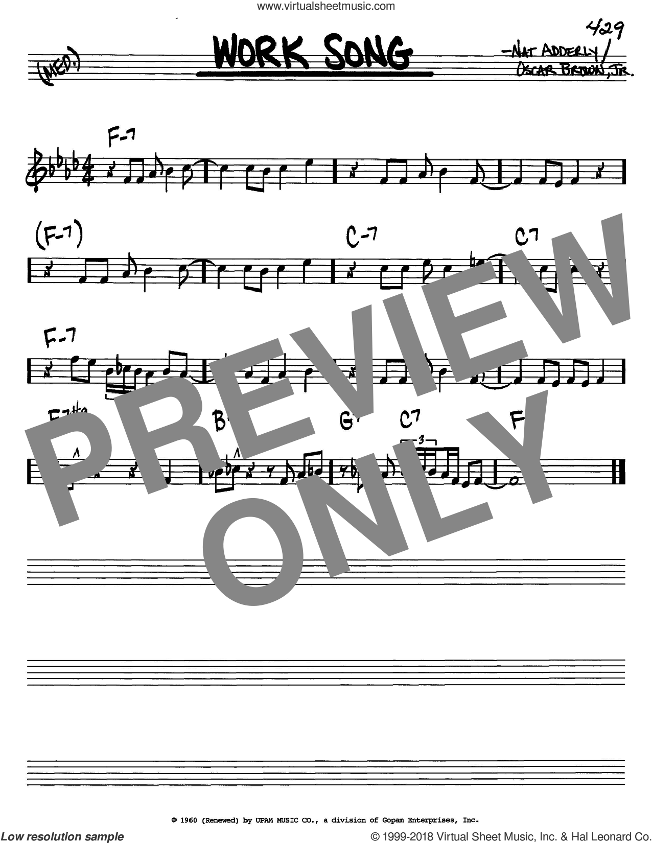 Work Song sheet music for voice and other instruments (C) by Cannonball Adderley and Nat Adderley. Score Image Preview.