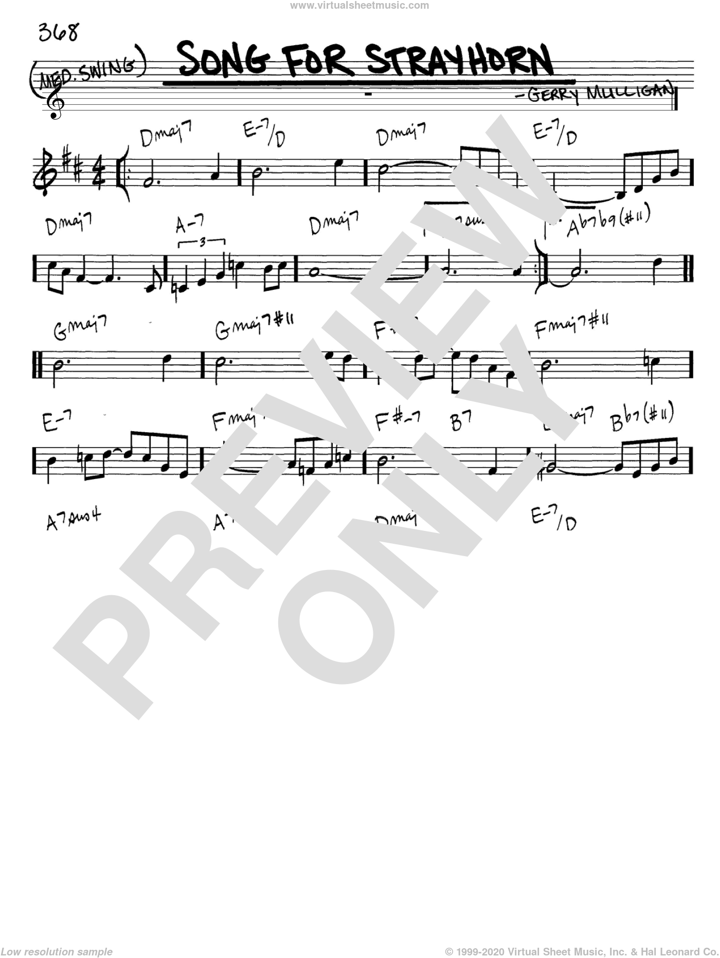 Song For Strayhorn sheet music for voice and other instruments (C) by Gerry Mulligan