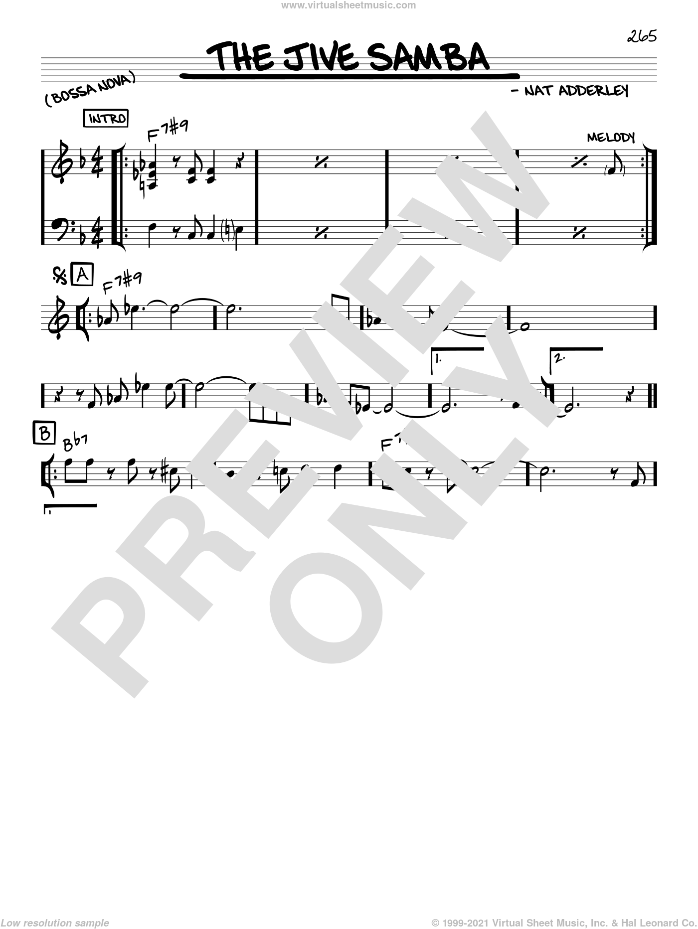 The Jive Samba sheet music for voice and other instruments (C) by Cannonball Adderley and Nat Adderley, intermediate voice. Score Image Preview.