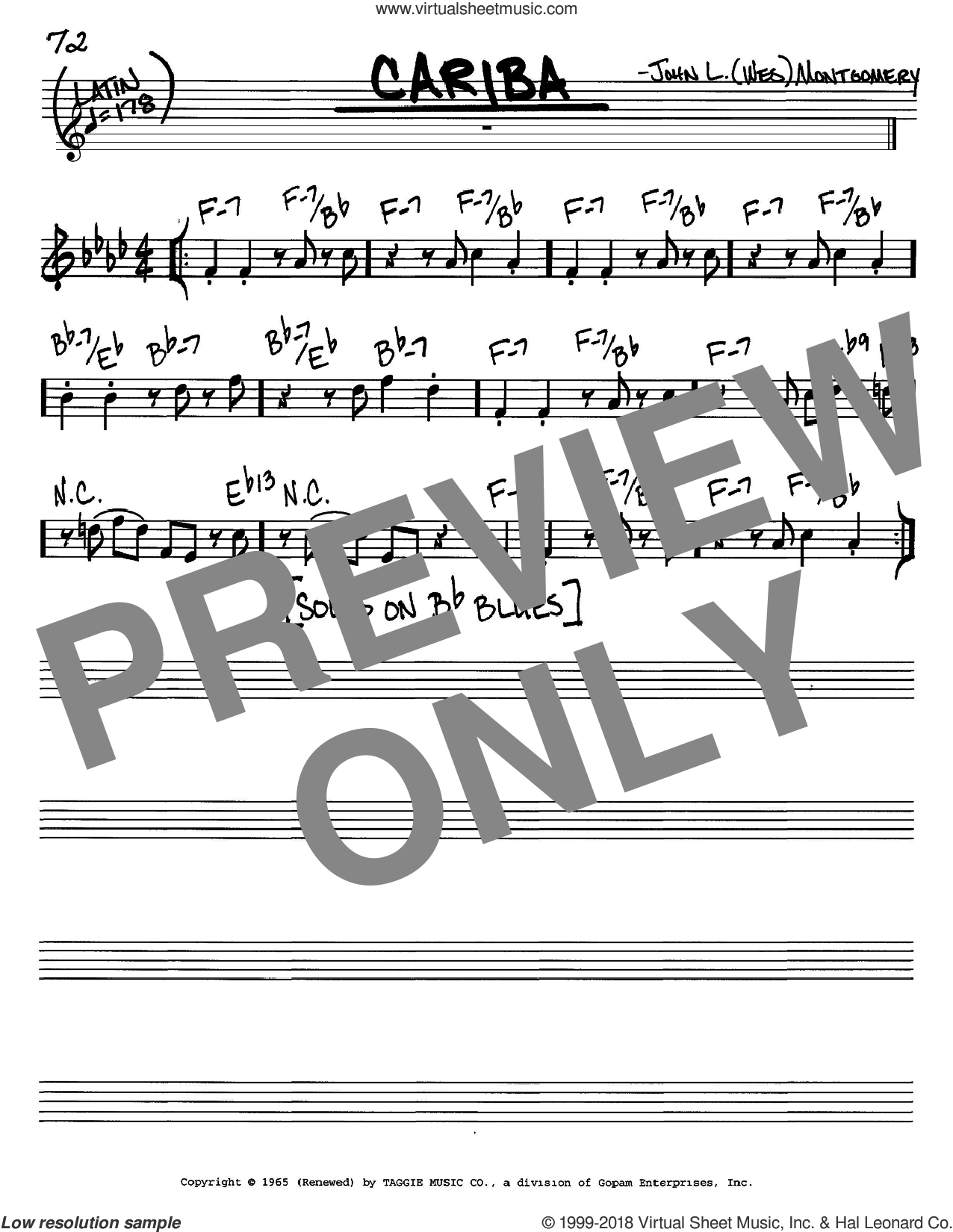 Cariba sheet music for voice and other instruments (C) by John L. (Wes) Montgomery and Wes Montgomery