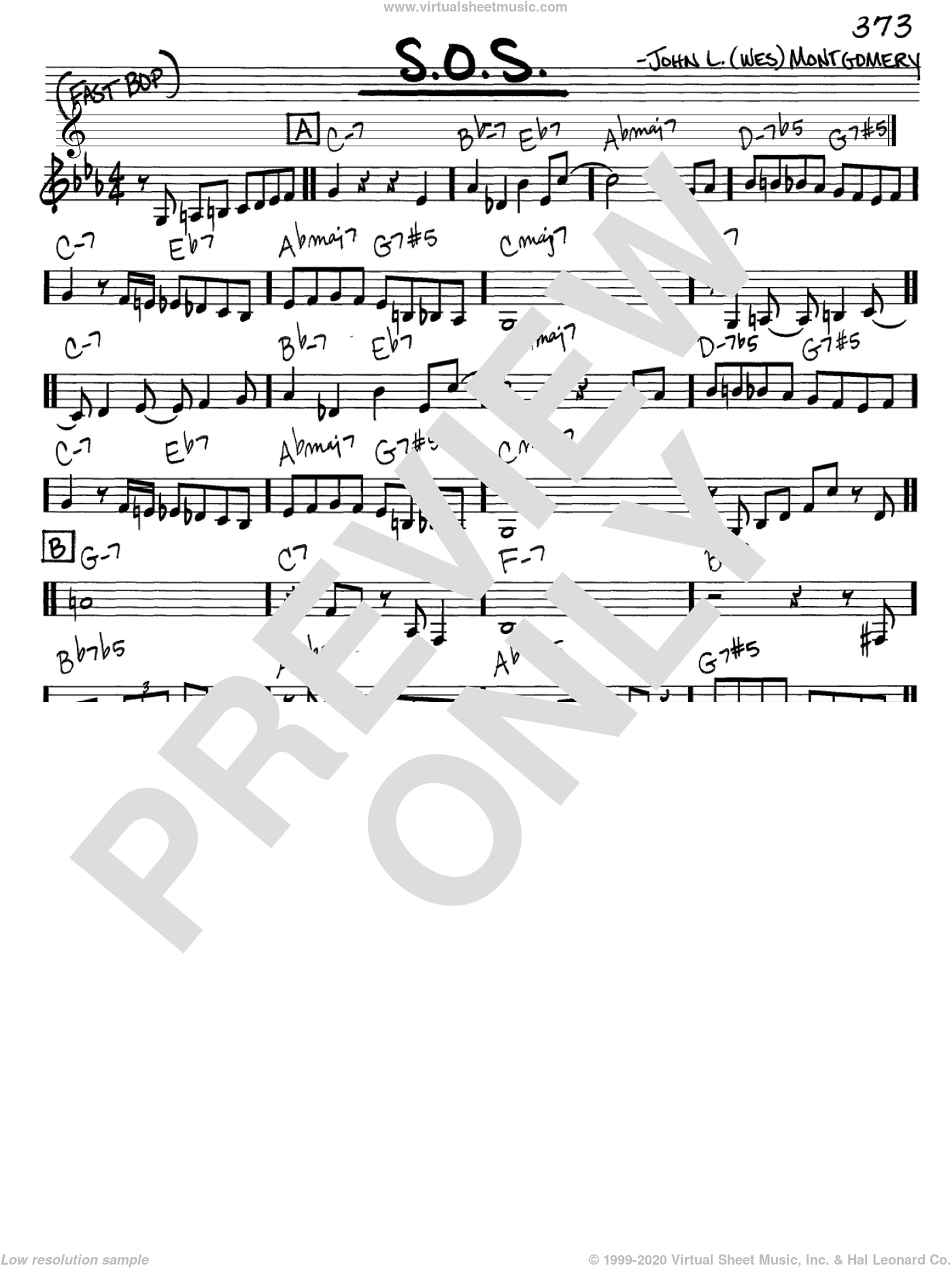 S.O.S. sheet music for voice and other instruments (in C) by Wes Montgomery, intermediate skill level