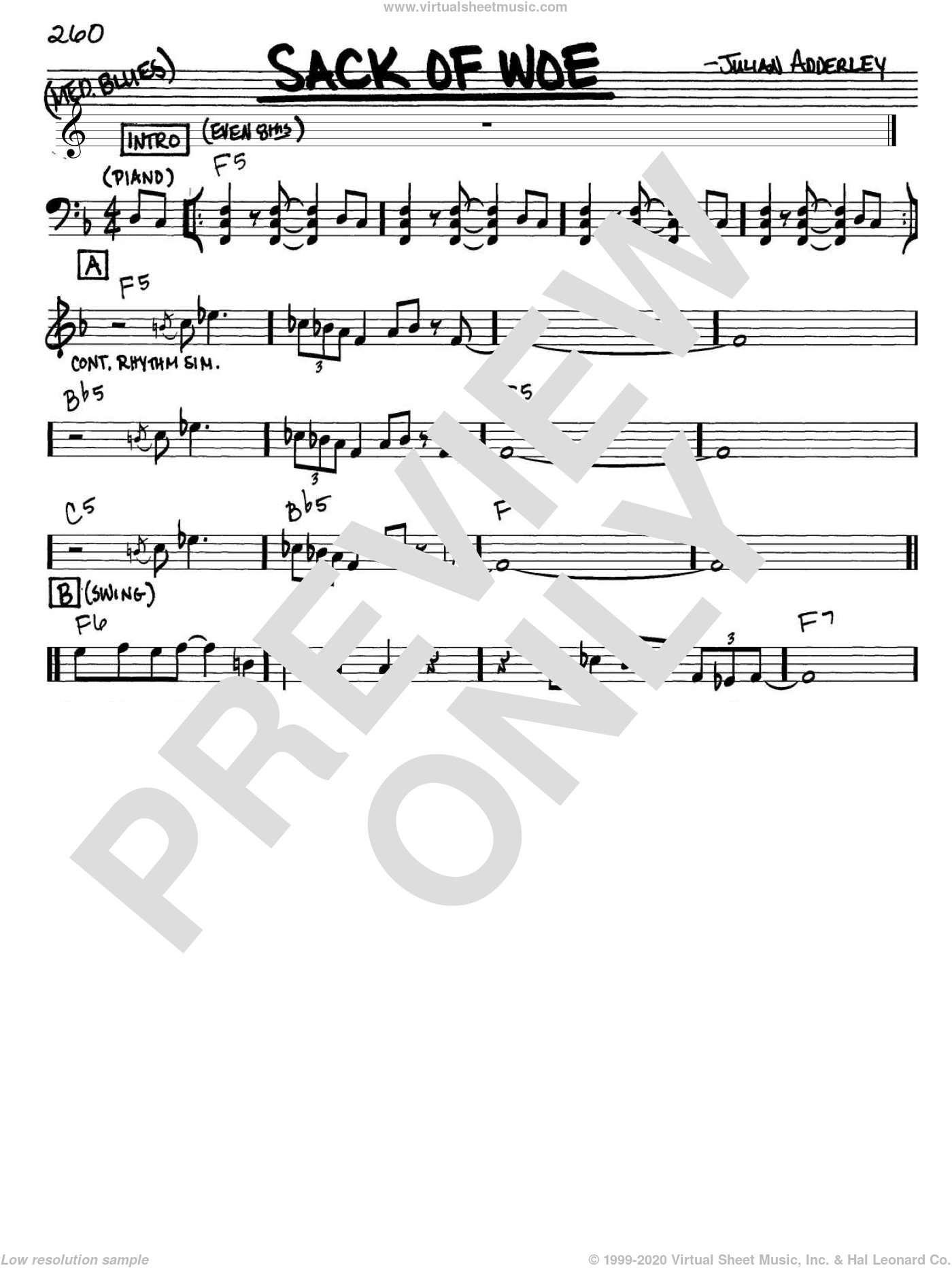 Sack Of Woe sheet music for voice and other instruments (Vocal Volume 1) by Julian Adderley and Cannonball Adderley. Score Image Preview.