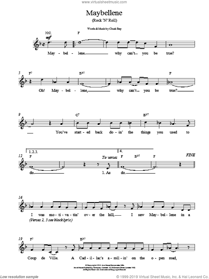 Maybellene sheet music for voice and other instruments (fake book) by Chuck Berry, ALAN FREED and Russ Fratto, intermediate skill level