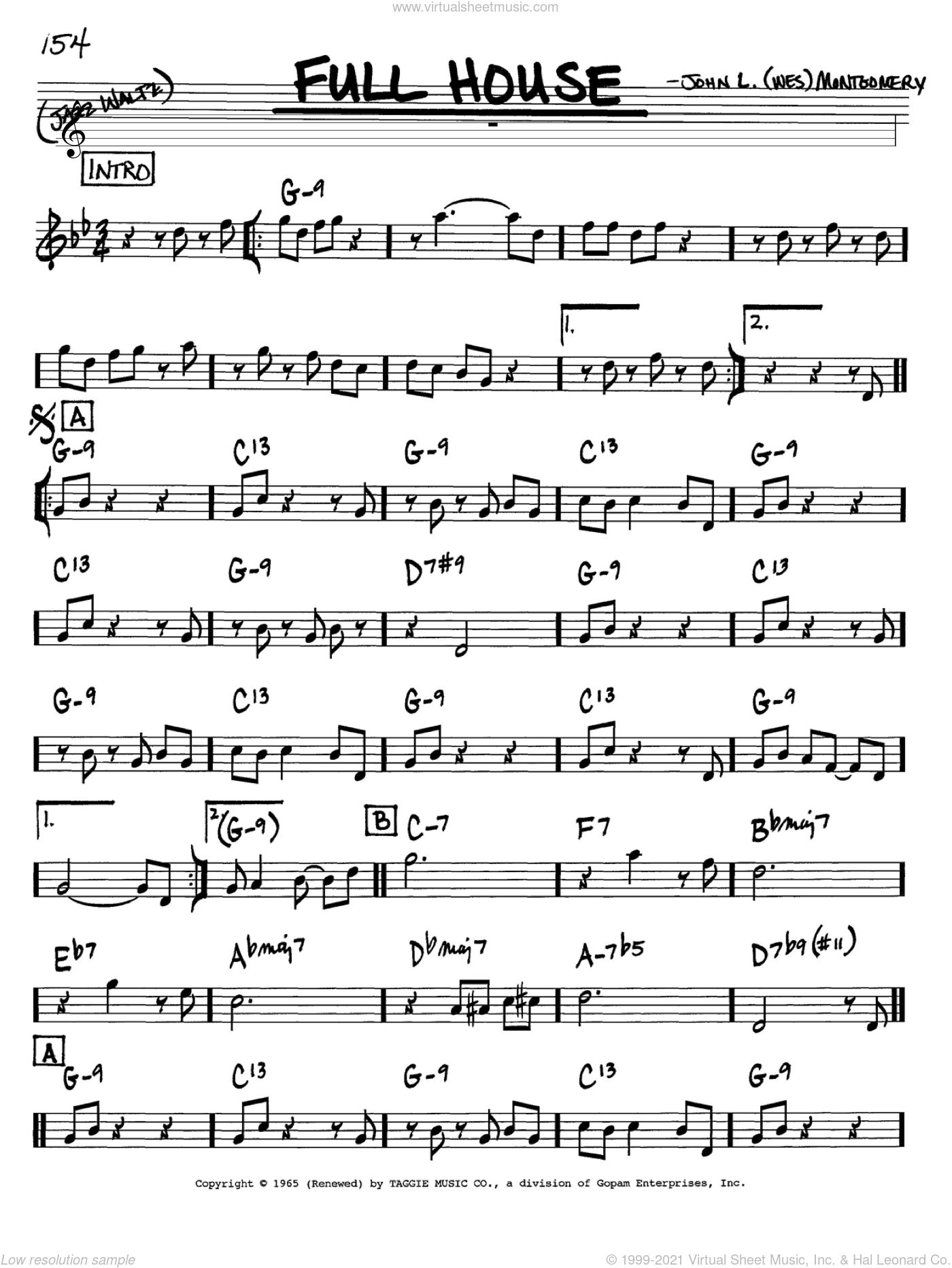 Full House sheet music for voice and other instruments (in Bb) by Wes Montgomery, intermediate skill level