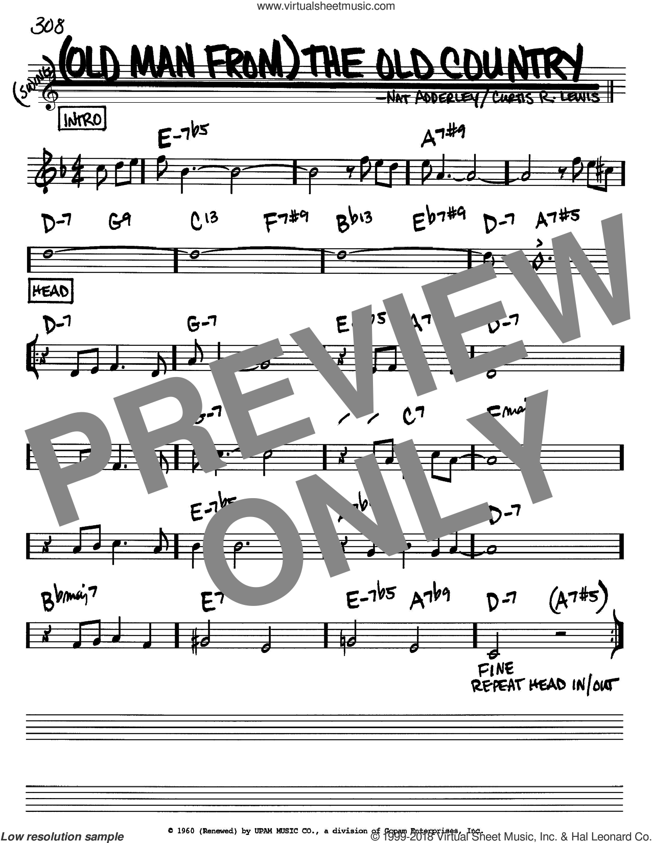 (Old Man From) The Old Country sheet music for voice and other instruments (Bb) by Curtis R. Lewis and Nat Adderley
