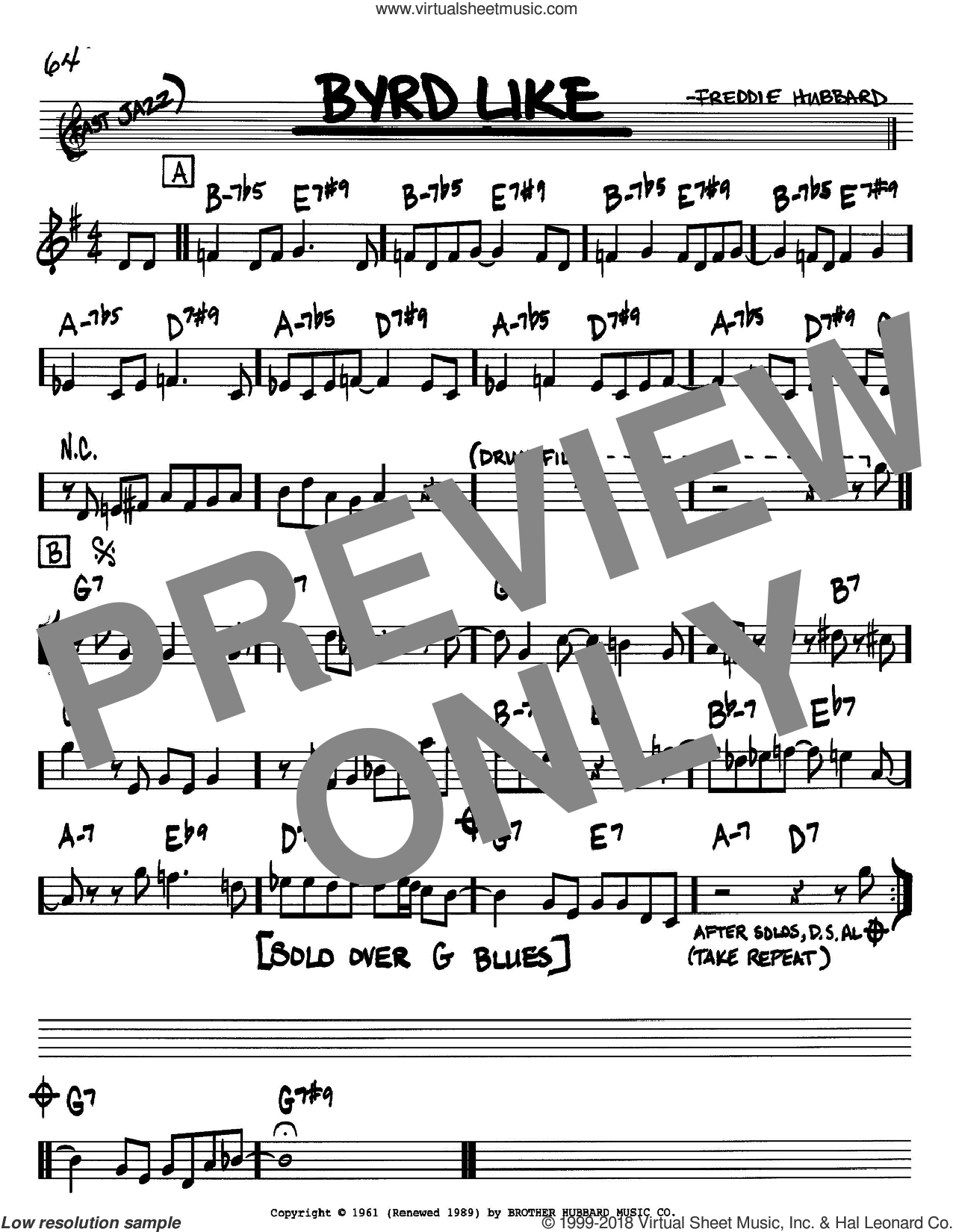 Byrd Like sheet music for voice and other instruments (Bb) by Freddie Hubbard. Score Image Preview.