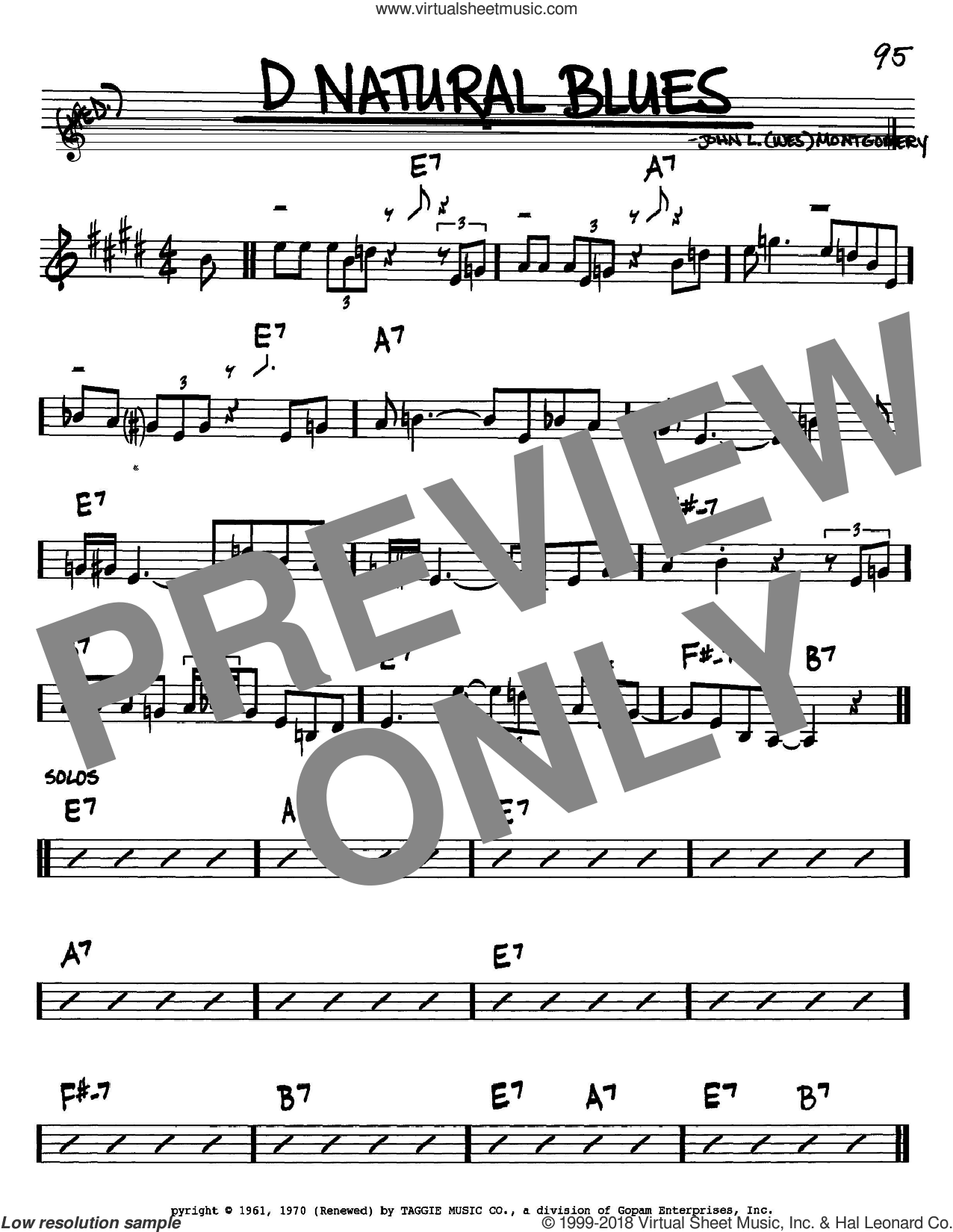 D Natural Blues sheet music for voice and other instruments (Bb) by Wes Montgomery. Score Image Preview.