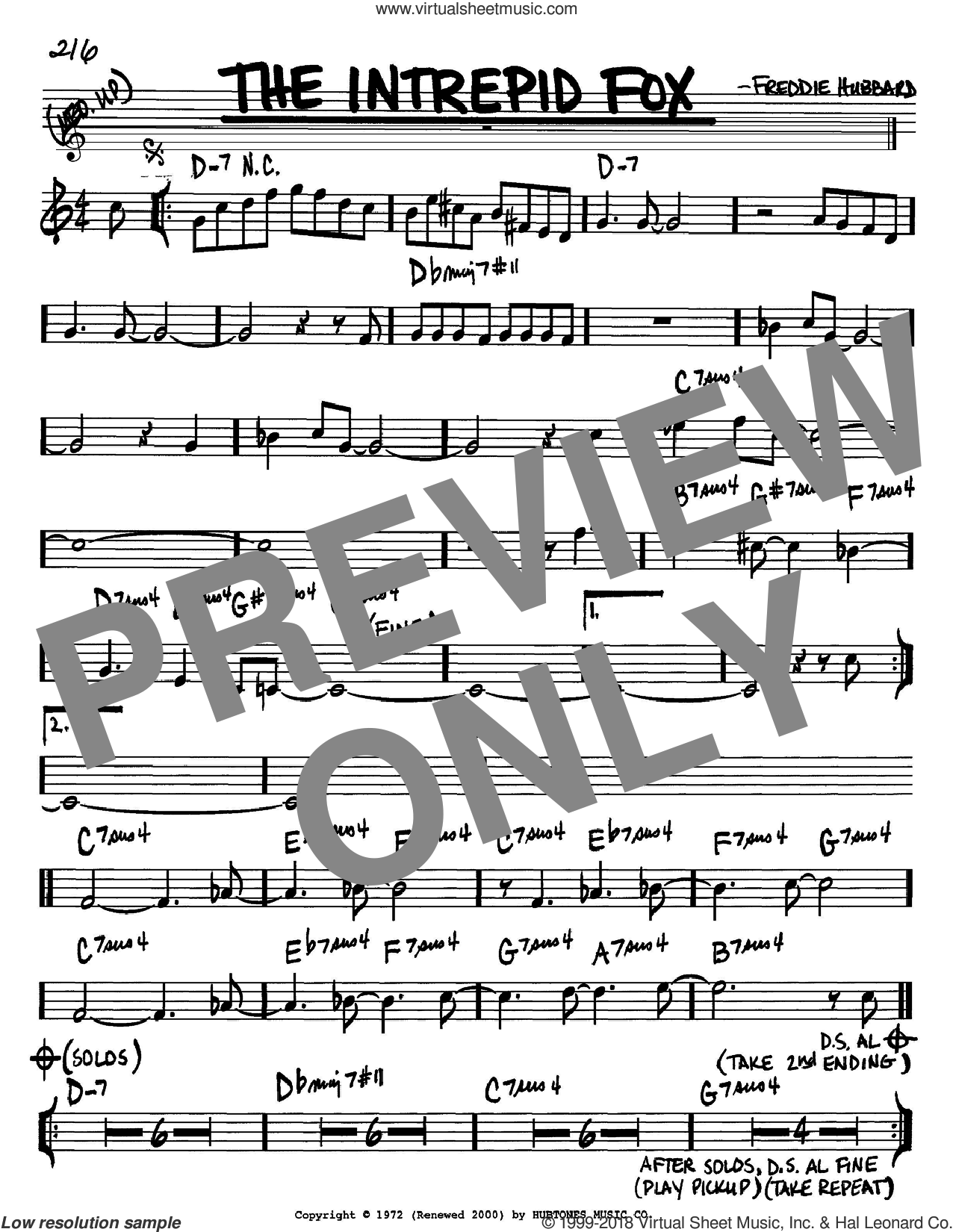 The Intrepid Fox sheet music for voice and other instruments (Bb) by Freddie Hubbard, intermediate voice. Score Image Preview.