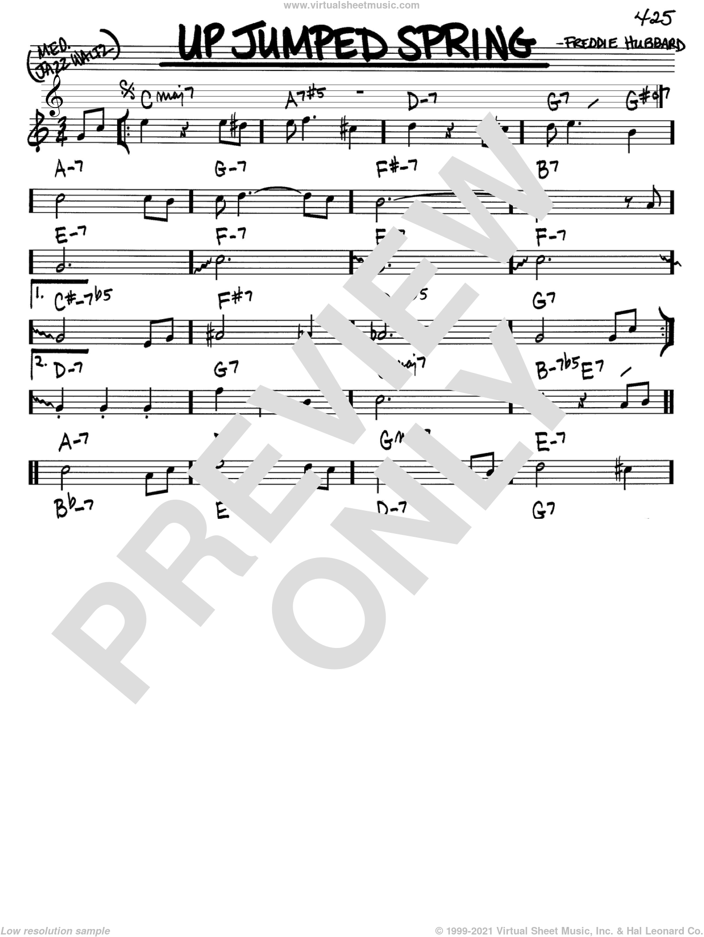 Up Jumped Spring sheet music for voice and other instruments (Bb) by Freddie Hubbard. Score Image Preview.