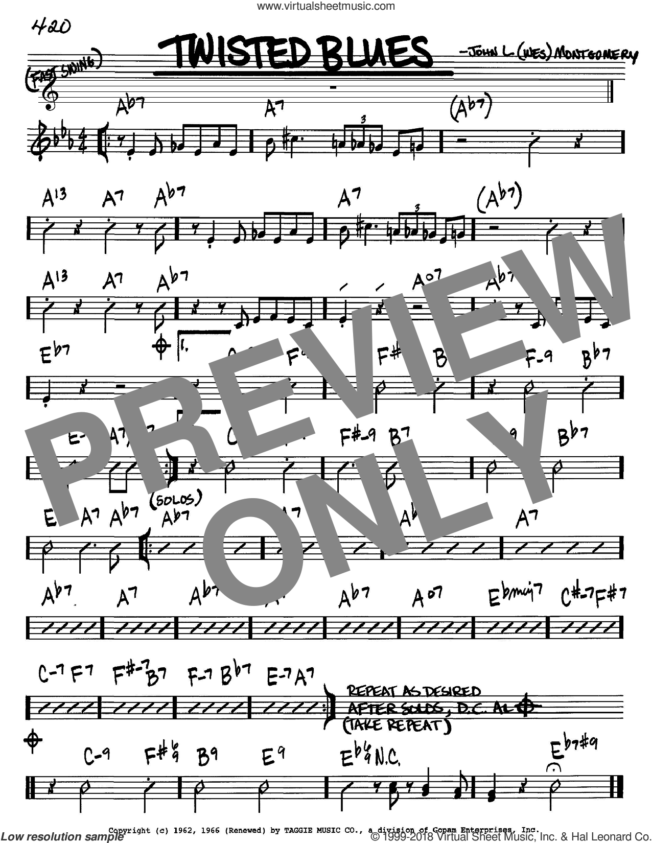Twisted Blues sheet music for voice and other instruments (Bb) by Wes Montgomery. Score Image Preview.