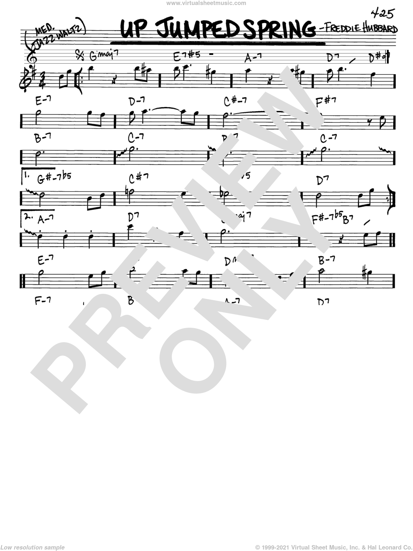 Up Jumped Spring sheet music for voice and other instruments (Eb) by Freddie Hubbard. Score Image Preview.