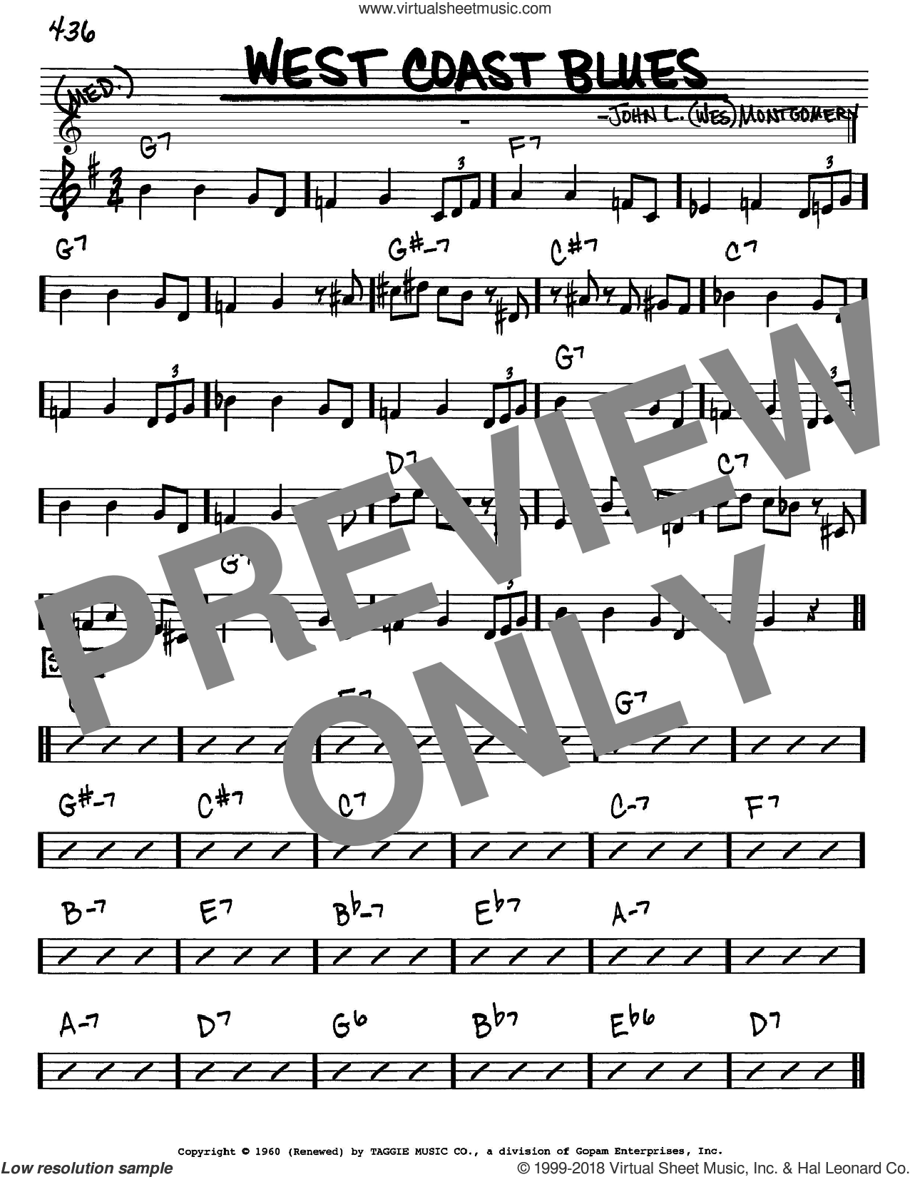 West Coast Blues sheet music for voice and other instruments (Eb) by Sascha Burland and Wes Montgomery. Score Image Preview.