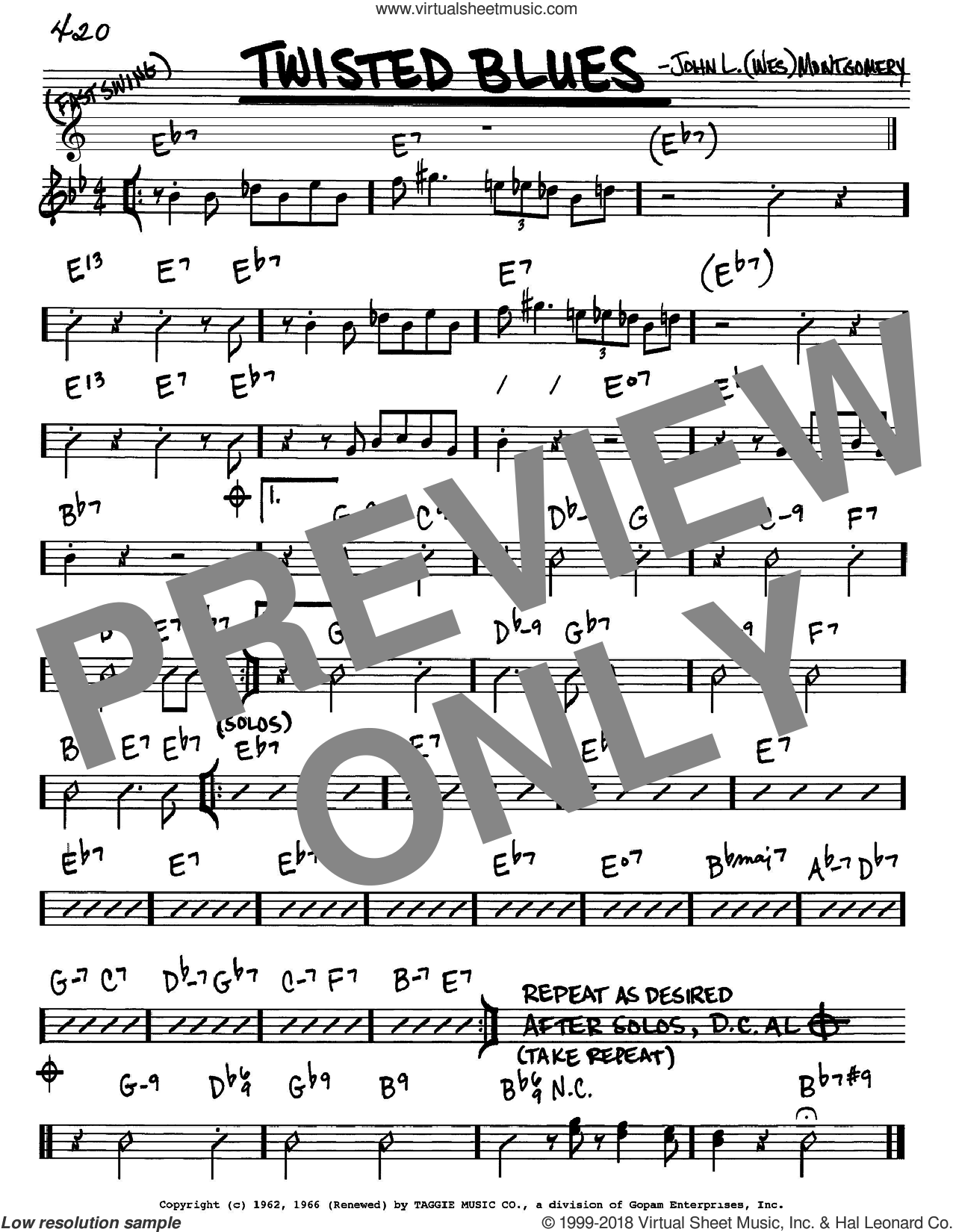 Twisted Blues sheet music for voice and other instruments (Eb) by Wes Montgomery